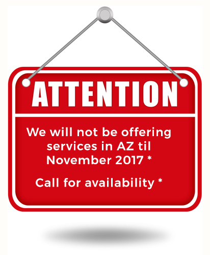 We will not be offering services in AZ til November 2017